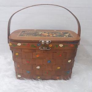 Vtg Billie Ross handpainted wood basket purse
